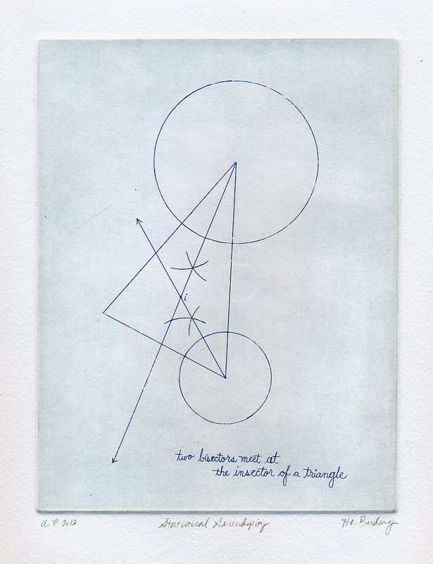 Statistical Serendipity: intaglio print of two bisectors meeting at the insector of a traingle