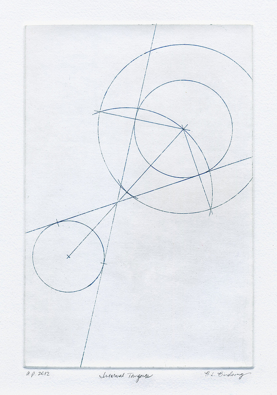 Internal Tangents: intaglio print of a geometric construction of two circles with a pair of internal tangents