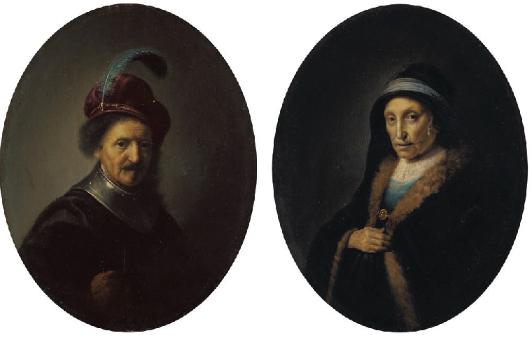 Two oval portraits, one of an old man in plumed hat and one of an old woman in blue robe.