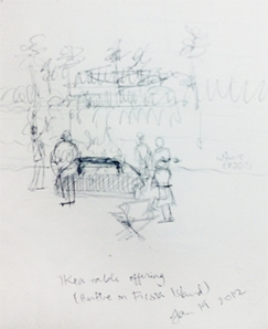 "Sketch for ""Bonfire on Fiesta Island"""
