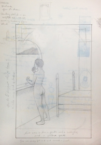 Sketch of nude woman facing out window, away from viewer, by Heather Lee Birdsong