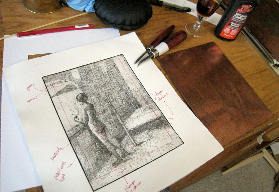 "First proof with notes for ""There was in Her a Garden and a Twilight"", etching by H. L. Birdsong, 2012."