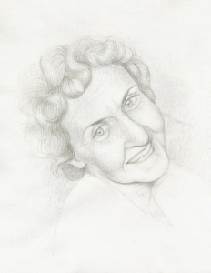 Silverpoint portrait of an old woman with a warm smile and kind eyes.