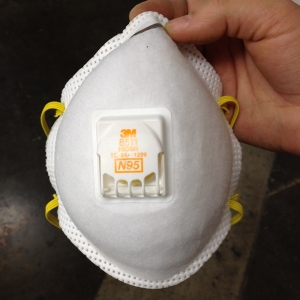 3M 8511 Particulate N95 Respirator. This mask is approved for non-oil-based particulates. Rosin is not oil-based, so we're good to go.